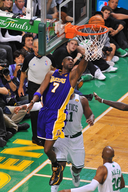 Lamar Odom #7 of the Los Angeles Lakers takes the shot against Glen Davis #11 of the Boston Celtics in Game Three of the 2010 NBA Finals on June 8, 2010
